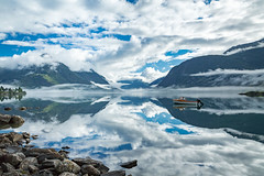 Morning Glory (North Face) Tags: norway norge norwegen fjord boat clouds water summer nature canon eos 5d mark iii 5d3 landscape rocks cliffs 24105l ilovenature landschaft wolken reflections