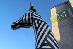 Looking Northwards (Jocey K) Tags: newzealand christchurch sky art architecture buildings numbers cbd sculptures no29 giraffecrossing standstall artistmarkcatley giantfibreglassgiraffesculptures