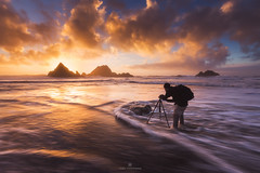 Artist at Work (tobyharriman) Tags: pictures ocean sf sanfrancisco california sunset sea people seascape man art beach water beautiful northerncalifornia photoshop canon landscape person photography evening coast ruins colorful artist december photographer photos outdoor fineart curves scenic adventure views processing bayarea sutrobaths pacificnorthwest prints custom behindthescenes attractions lightroom sealrock 2014 sanfranciscophotography tobyharriman timelapsepictures michaelshainblum