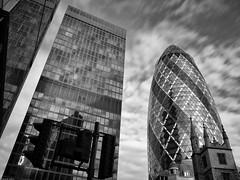 Four Or Five Buildings (peterphotographic) Tags: uk england blackandwhite bw 3 london monochrome skyscraper canon three britain nik trio gherkin 30stmaryaxe limestreet cityoflondon officeblock g15 dsc3141jpg silverefexpro2 canong15