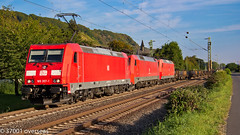 DB triple header at Leutesdorf (37001 overseas) Tags: rail railway db rhine bahn lokomotive leutesdorf class185 152007 class145 class152 185357 145037