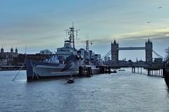HMS Belfast at Sunrise (stevewilcox32) Tags: uk bridge england london thames towerbridge sunrise river boat ship navy belfast riverthames hms