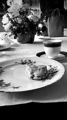 Cinnamon roll and tea (Wanderlust.jpg) Tags: flowers blackandwhite bw food art cup beauty bag table photography pattern yum tea culture plate teacup cinnamonroll iphone6