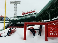 A snow-filled Fenway Park - February 21, 2015 #22 (misconmike) Tags: park red snow signs ford field sign boston 22 box sox right diamond pole numbers covered seats fenway 95 retired budweiser ballpark pesky