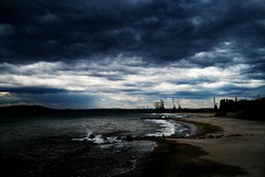 Black Sea Green (CookieJon139) Tags: travel sea storm green beach water clouds alone bulgaria shore burgas blacksea