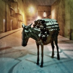 On a snowy night in Santa Fe, a burro, purveyor of warmth, will come to you... (allophile) Tags: sculpture newmexico santafe texture burro tintype publicart streetscape squared iphoneart texturesquared hipstamatic