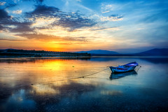 Blue Sunset (Nejdet Duzen) Tags: trip travel sunset lake reflection nature turkey boat trkiye sandal gnbatm gl yansma turkei seyahat manisa doa kayk glmarmara