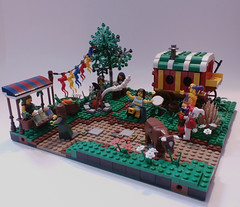The Gypsie Faire of South Bend Shire - Willowstone Modular Countryside (jgg3210) Tags: tree castle wagon cow lego bend herbs south goat fair tent medieval celebration campfire modular faire shire gypsy merchant gypsies gypsie minifigure moc herbalist classiccastle willowstone stillmoss