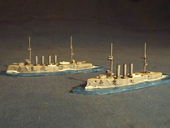 Models of British armoured cruisers HMS Good Hope & Monmouth (Giv75) Tags: hope model ship good monmouth wargame cruiser cruisers warship hms armoured scratchbuilt shipmodel