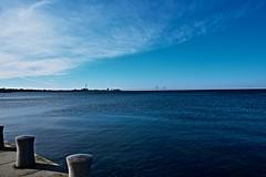 By the sea (Maria Eklind) Tags: ocean bridge blue sea sky nature water sweden oresundsbron vastrahamnen malmo