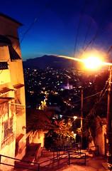 Vista Alegre (Mrcio Vincius Pinheiro) Tags: city blue cidade brazil sky urban panorama azul brasil riodejaneiro night stairs twilight rj pano panoramic cu urbano 450 santateresa crepsculo panormica escadaria fimdetarde rio450