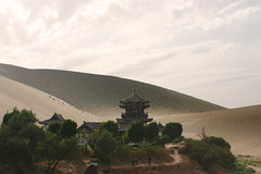 Gobi Desert and Crescent Moon Lake Oasis - Dunhuang (Don Thoreby) Tags: china oasis silkroad remote dunhuang gobidesert crescentmoonlake chinasilkroad oasisscene