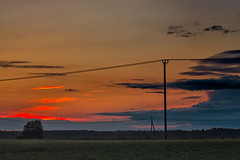 Sunset On A Summer Night (k009034) Tags: sunset summer sky people sun nature silhouette clouds rural forest finland outdoors countryside no space telephone nopeople scene line fields copyspace copy idyllic telephoneline ruralscene oulainen 500px teamcanon matkaniva