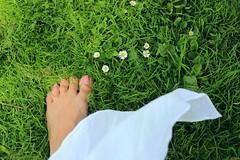 Summer feeling/Theme Fotoklik July. (eleni m) Tags: summer feeling barefoot foot dress meadow grass outdoor daisies flowers dof nailvarnish green white pink yellow memories nails wind sun
