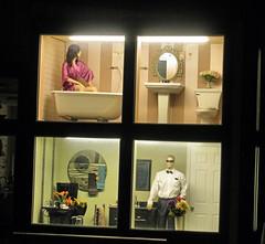 Window Peeking (Eyellgeteven) Tags: windows woman man mannequin window strange bathroom mirror weird bath dummies mannequins sink display plumbing toilet business tub unusual windowdisplay dummy lavatory bizarre toilets sinks lavatories plumbingcompany eyellgeteven