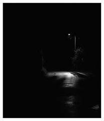 Vitamin (Barnaby Nutt) Tags: neopantastic fujineopanacros mamiya rb67 urba blackandwhite ilfotechc road street tarmac wet led streetlight nighttimeneopan