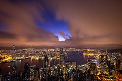 Hong Kong before the Dawn (globetrekimages) Tags: hongkong skyline night nightshot clouds pink city cityscape