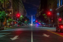 The central arrow (karinavera) Tags: travel nikond5300 buenosaires night street obelisc urbanexploration arrow avenida road cityscape longexposure view obelisco city argentina emblematicplaces microcentro buildings lights downtown traffic urban