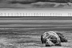 MerseheadRSPB_DSC7651 (Nick Woods Photography) Tags: blackandwhite bw cloud beach clouds landscape mono scotland blackwhite sand rocks cloudy windfarm cloudysky sandybeach dumfriesgalloway beachscape bwimage rockyshoreline