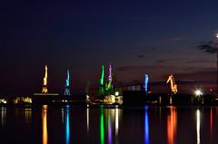 Giants of Pula (laroo700) Tags: giants pula pola istria hrvatska croatia kroatien crane industry art light dark night