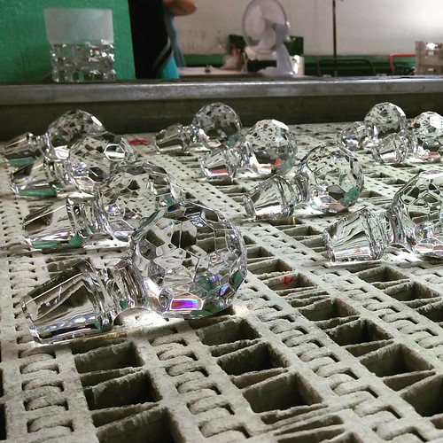 Finished tops drying out before packaging. #glass #cristal #huta #industry #poland