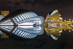 The City of Arts and Sciences (Danieldevad) Tags: building architecture reflection eye hemispheric calatrava symmetry creative artistic night creativo artistico edificio arquitectura reflejo ojo simetria hemisferico noche