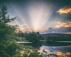 God Looks Down on Indian Kill (brianloganphoto) Tags: sunset northamerica nature reflection tuxedopark newyork outdoor rural clouds trees orangecounty landcape sky serene unitedstates water lake regions us
