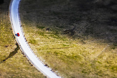 Curve (C_MC_FL) Tags: street car turn curve hayfield minimalistic minimalism minimalistisch negativespace copyspace canon eos 60d red tamron b008 18270 strase auto kurve driving fahren wiese rot tiltshift fotografie photography focus fokus highangleview