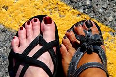Pedi 2016 (ruthlesscrab) Tags: toes feet sandals yellowline