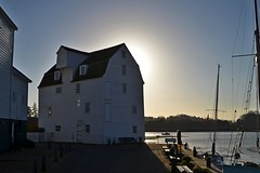 Tide Mill, Woodbridge (DaveJC90) Tags: christmas street camera new wood xmas old morning blue light sea sky cloud sun sunlight colour detail building slr classic mill church window water rock stone modern digital river walking square lens town wooden suffolk high movement nikon colours angle bright walk tide low wide sunny wideangle move sharp crop 1855mm 1020mm woodbridge stmarys deben croped sharpness tidemill d5100