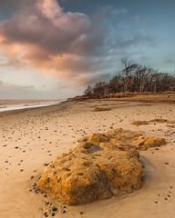 Castaway (jellyfire) Tags: winter sea tourism beach sunrise canon landscape dawn coast suffolk sand general unitedkingdom shoreline cliffs erosion clay environment southwold eastanglia benacre covehithe coastalerosion canon5dmkii zeissdistagont18mmf35ze