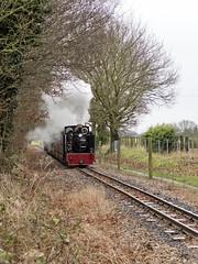 Slowing for Belaugh (Gerry Balding) Tags: england train smoke norfolk engine steam locomotive eastanglia narrowgauge 15inch johnofgaunt uksteam burevalleyrailway belaughgreen bvr8