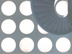 Balls (Maerten Prins) Tags: new light white building lamp nijmegen campus stair university stairwell curve universiteit upshot grotiusgebouw