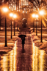 Rainy Night (Elliotphotos) Tags: ohio reflection rain night umbrella reflections evening university state library rainy osu elliot theohiostateuniversity umbrellas thompson oval ohiostate ohiostateuniversity theoval williamoxleythompson gilfix thompsonlibrary thompsonmemoriallibrary elliotphotos elliotgilfix