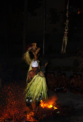 Fire Trance Dance (Triple_B_Photography) Tags: world travel vacation bali holiday man motion male men tourism closeup canon indonesia asian temple fire foot costume asia expression faith religion location tourist explore event flame elderly elements frame 7d mystical ritual limbs spiritual hindu hinduism incredible pura footprint trance ubud balinese 2014 lokal bapak