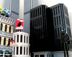 Skyline of New Gotham (rh1985moc) Tags: city skyscraper lego modernism clocktower twintowers metropolis wtc gotham newgotham