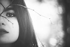 Shy (la_cla25) Tags: portrait blackandwhite canon eyes bokeh shy occhi hide ritratto biancoenero timida timidezza