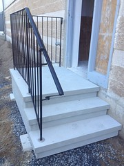 Commercial L-Shape Stairs with Commercial Wrought Iron Railings