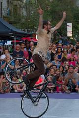 One Wheel (Bloui) Tags: bike montral crowd july qubec 2014 quartierlatin eos7d montralcompltementcirque laruecompltementcirque lescousinesetlesbeauxfrres