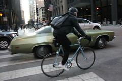 Wheels (Flint Foto Factory) Tags: city winter urban chicago motion color green hardtop bike bicycle 1974 march amber early illinois spring movement downtown loop flag satellite wheels platform plymouth corporation american plus late bicyclist intersection chrysler mopar sebring coupe locomotion sharetheroad sherwood 2door 2015 bbody wjacksonblvd sclarkst