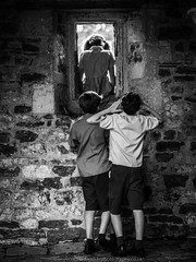 A Leap Into The Unknown (Richard Walker Photography) Tags: blackandwhite kids children fun mischief paly