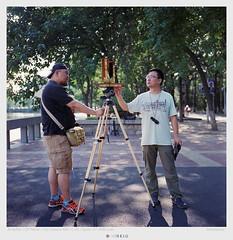 Mr.Hu and Mr.Lynn operating a Wisner 5x7 field camera (derek*werner) Tags: 120 rollei rolleiflex mediumformat fuji superia 400 epson fujifilm tianjin xtra largerformat v850 gtx980