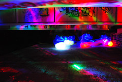 Under Bridge Lights At Night (jna.rose) Tags: longexposure nightphotography bridge pink blue red urban lightpainting abstract green balloons lights graffiti nikon glow purple under nighttime urbanexploration lighttrails nikond80
