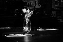 Table mise (Duric) Tags: ottawa olympusem1 restaurant cuisine fleurs couvert fourchettes noiretblanc blackandwhite bw blancoynegro soir