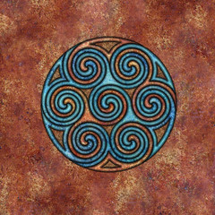 spirals (chrisinplymouth) Tags: spirality art pattern design spiral image whorl coil abstract cw69x artwork square symmetry curl digitalart triskele circle round circular cw69sym symbol triskelion triplespiral celticspiral celtic rust trisquel geometric geometry cw69spiral emd