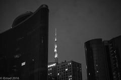 Racing to the skies... (EHA73) Tags: aposummicronm1250asph leica leicamm typ246 nightphotography burjkhalifah blackandwhite bw dubai uae downtowndubai towers