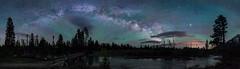 Bridge to Jupiter (PossiblyNot) Tags: airglow blue bridge grandtetonnationalpark green jupiter milkyway night nightsky purple river stars trees usa wy wyoming