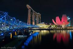 singapore night (~kenlwc) Tags: life leica city travel bridge blue red urban black color reflection architecture night landscape singapore sands 21mm kenleung helixbridge elmarit21mm elmar21mm28 nightfoto marinabaysands leicam9 elmarit21mmpreasph artsciencemuseum leicam9p elmar21mmf28 kenlwc