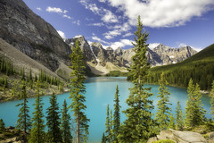 Moraine Lake (3dRabbit) Tags: moraine lake banff national park woods tree mountain travel nature sungjinahn canon color magic dream peace landscape noon day light fantastic rock outdoor water river plant mountainside sun shadow canmore wideangle 1635mm apple