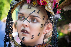 Painswick wearable art festival-361 (Ruth Flickr) Tags: uk summer portrait england woman art clock girl fashion festival fun costume eyes village arts gloucestershire clothes churchyard wearable painswick acp 2016